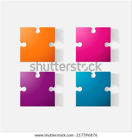 paper clipped sticker  puzzle