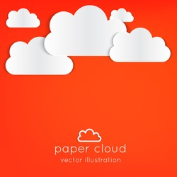 Paper clouds background with place for your text on orange.  Can be used as icon, sign, element for web design or business presentations.