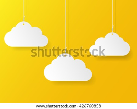 paper clouds on ropes  vector