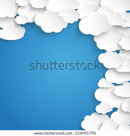 paper clouds on the blue