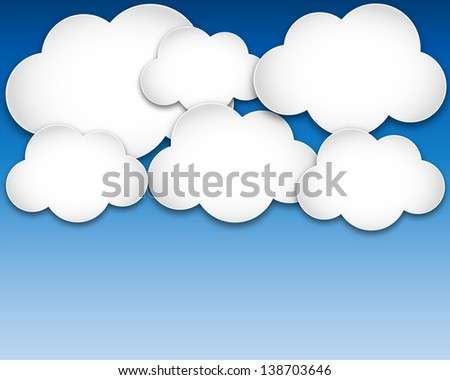 paper clouds over blue sky
