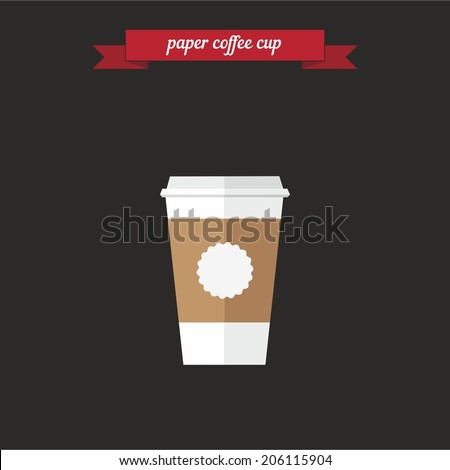 paper coffee cup flat style