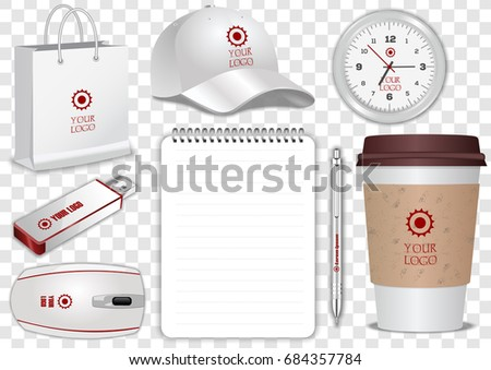 Paper Coffee Cup, Realistic spiral notebook, clock, shopping bag, white pen, computer mouse, flash drive and baseball cap isolated on transparent background. Display Mock up for corporate identity