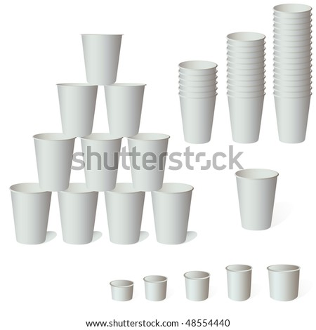 Paper coffee cup vector set