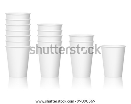 Paper coffee cups on a white background. - stock vector