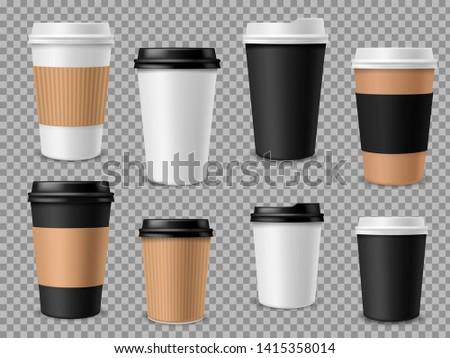 Paper coffee cups set. White paper cups, blank brown container with lid for latte mocha cappuccino drinks realistic vector 3d mockups for street cafe