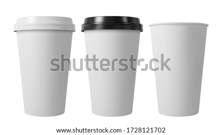 Paper coffee cups with black and white lids. Open and closed paper cup. Realistic vector mockup