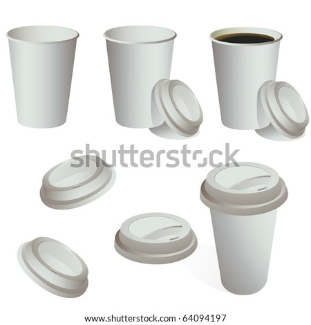 Paper coffee, tea, ice cream cup set isolated on white vector