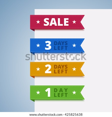 Paper color tags. 1, 2, 3 days sale left. Vector illustration in flat style.
