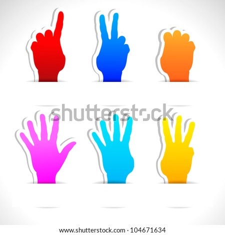 Paper colored stickers of raised hands. Vector illustration.