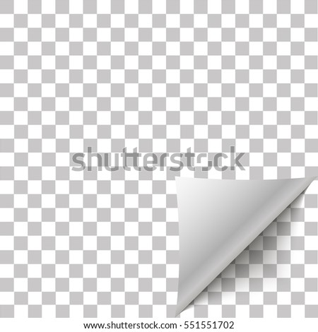 Paper corner peel. Page curled fold with shadow. Blank sheet of folded sticky paper note. Vector illustration sticker peel for advertising and promotional message isolated on transparent background.