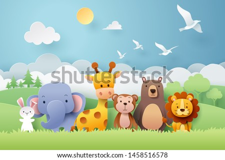 paper craft of zoo animals and