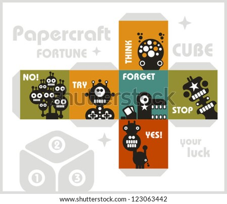 Paper cube with monsters for luck. Papercraft, vector in retro style.