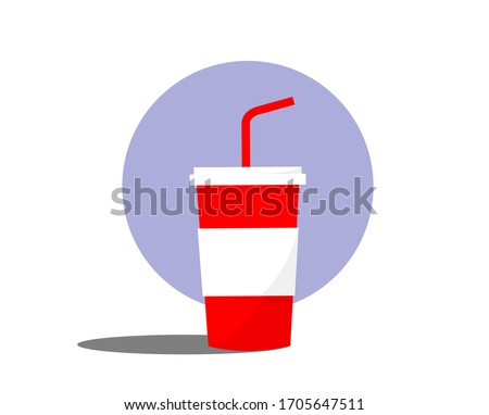 Paper cup icon in flat style. Red cups with straws for soda, juice or cold beverage. Glass with long shadow isolated on colored background. Drink icon. Fast food. Vector illustration EPS 10.