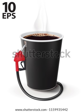 Paper cup of coffee with dispenser. Metaphor coffee is power for people. Creative vector 3d illustration