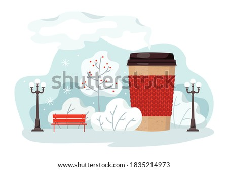 Paper Cup of hot coffee with a lid in the winter Park. Snowfall, winter city landscape. Vector, white background, isolated Photo stock ©
