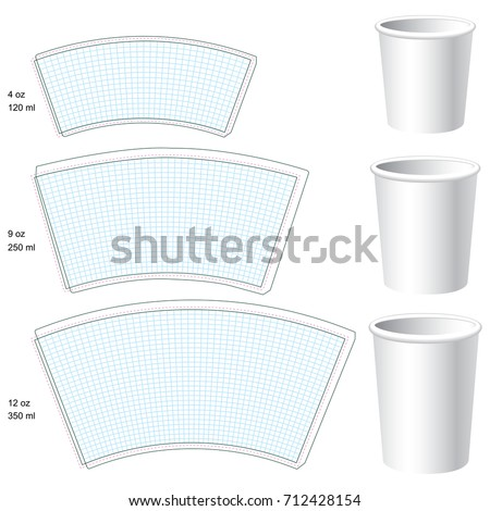 Paper cup vector blank templates. 3 sizes. Stock foto ©