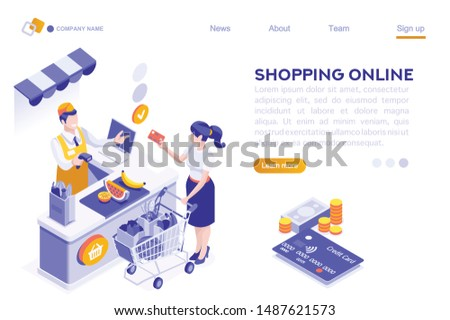 Paper Customer Pay at Store. Goods Cartoon. Buys, Buyer Purchase, Supermarket Line and Trolley. Sale Grocery Business, Consumerism of Retail. Flat Vector Illustration Hero Images Isometric Banner