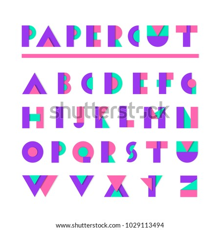 Paper cut alphabet. Geometric material flat design letters. Paper origami typeface illustration. Bright realistic paper font for poster, trendy design.