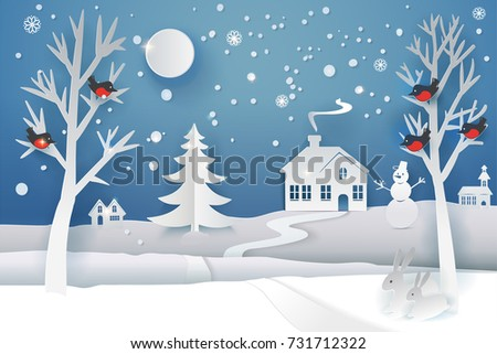 Paper cut and craft winter landscape with evergreen tree, house, snowman, moon and snowflakes. Holiday nature and christmas tree. Web banner. Vector illustration. Merry Xmas. Outdoor design