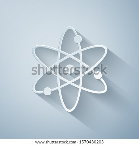 Paper cut Atom icon isolated on grey background. Symbol of science, education, nuclear physics, scientific research. Electrons and protonssign. Paper art style. Vector Illustration