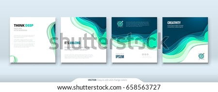 Paper cut background concept Paper carve abstract background for card banner brochure flyer design in blue colors