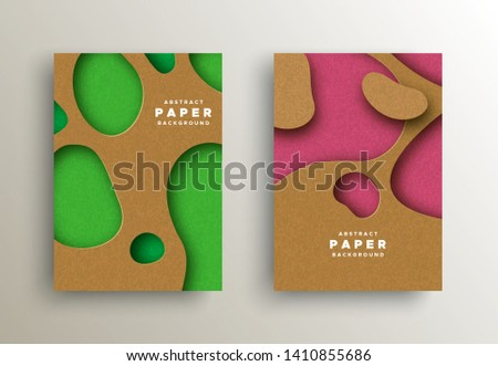 Paper cut background set with colorful abstract cutout shapes. Realistic papercut design ideal for business presentation, web or creative concept.
