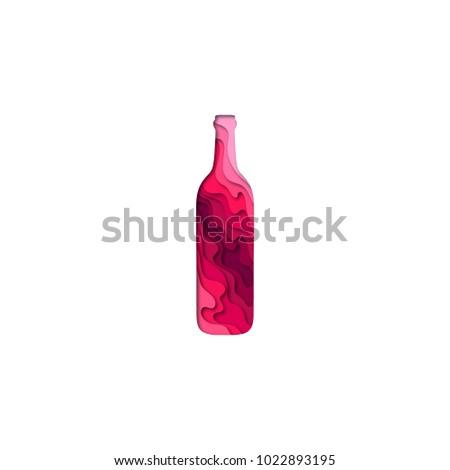 Paper cut bottle of wine shape 3D origami. Trendy concept fashion design. Vector illustration