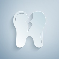 Paper cut Broken tooth icon isolated on grey background. Dental problem icon. Dental care symbol. Paper art style. Vector.