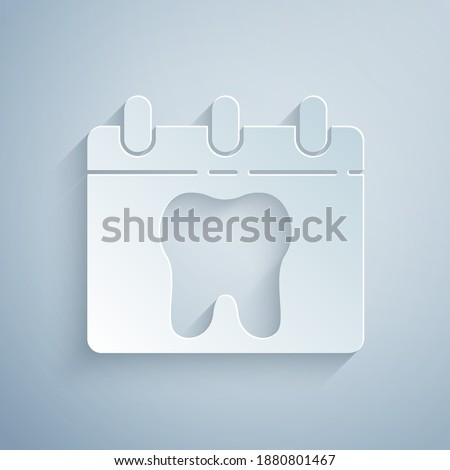 Paper cut Calendar with tooth icon isolated on grey background. International Dentist Day, March 6. March holiday calendar. Paper art style. Vector.
