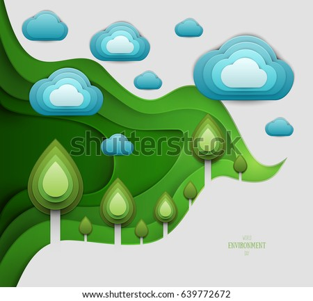 Paper Cut Cartoon Forest With Trees And Clouds In Realistic Trendy Craft Style Modern Origami