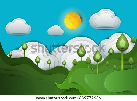 Paper Cut Cartoon Green Hills With Plant And Clouds In Realistic Trendy Craft Style Modern