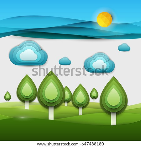 Paper cut cartoon nature landscape with green tree, sun and clouds in realistic trendy craft style. Modern origami design. Background for greeting card, banner, cover, poster. Vector illustration.