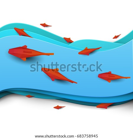 paper cut cartoon red fish on