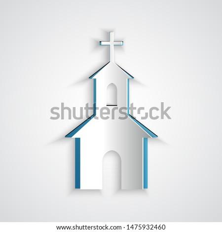 paper cut church building icon