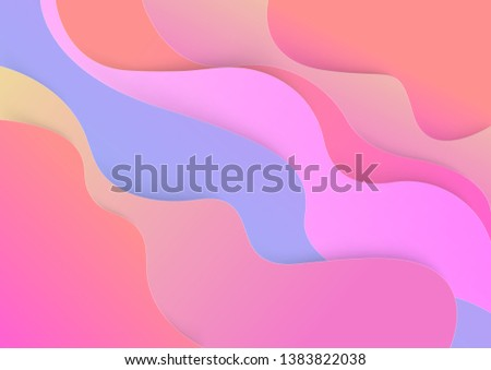 Paper cut colorful wavy background.  cardboard wavy layers. vector. Illustration.