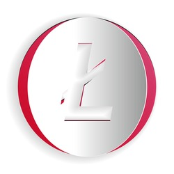 Paper cut Cryptocurrency coin Litecoin LTC icon isolated on white background. Digital currency. Altcoin symbol. Blockchain based secure crypto currency. Paper art style. Vector