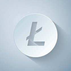 Paper cut Cryptocurrency coin Litecoin LTC icon on grey background. Physical bit coin. Digital currency. Altcoin symbol. Blockchain based secure crypto currency. Paper art style. Vector Illustration