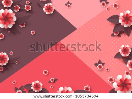 Paper Cut Decorative Flowers Template For Greeting Card Holiday Background Papercraft Style