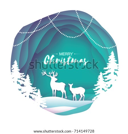 Paper cut deer couple in snowy Christmas tree forest. Merry Christmas Greeting card. Origami winter season. Happy New Year. Paper art style. Blue background. Circle cave layered frame. Garland. Vector
