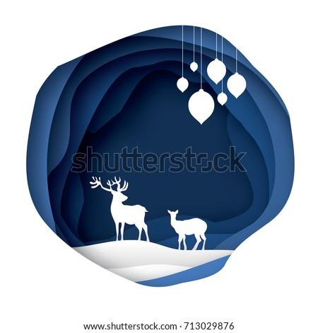 paper cut deer couple in snowy