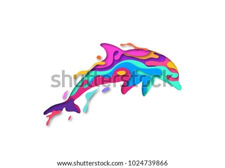 paper cut dolphin shape 3d