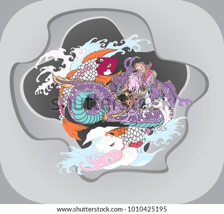 paper cut dragon and koi carp