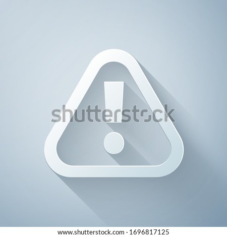 Paper cut Exclamation mark in triangle icon isolated on grey background. Hazard warning sign, careful, attention, danger warning important. Paper art style. Vector Illustration Stock foto ©