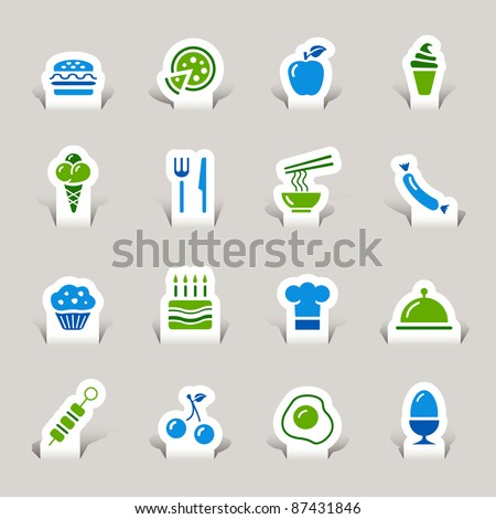 Paper Cut - Food Icons