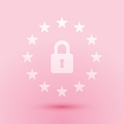 Paper cut GDPR - General data protection regulation icon isolated on pink background. European Union symbol. Security, safety, protection, privacy. Paper art style. Vector.