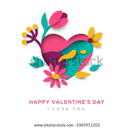 Paper cut heart with blooming flowers, leaves and abstract shapes on white background. Vector illustration. Saint Valentine's day concept
