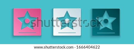 Paper cut Hollywood walk of fame star on celebrity boulevard icon isolated on blue background. Famous sidewalk, boulevard actor. Paper art style. Vector Illustration