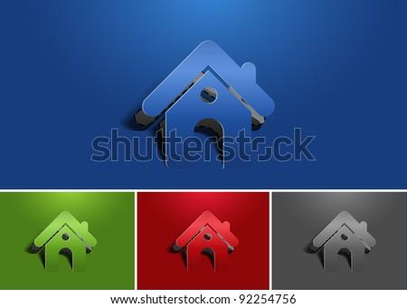 paper cut home icon