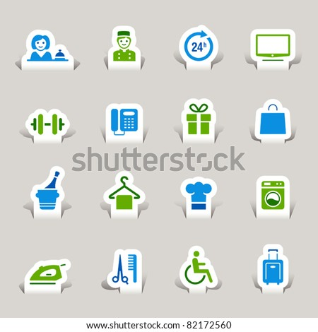Paper cut - Hotel icons - stock vector